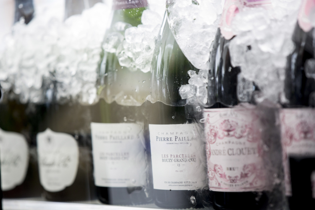 Bottes of champagne resting in ice