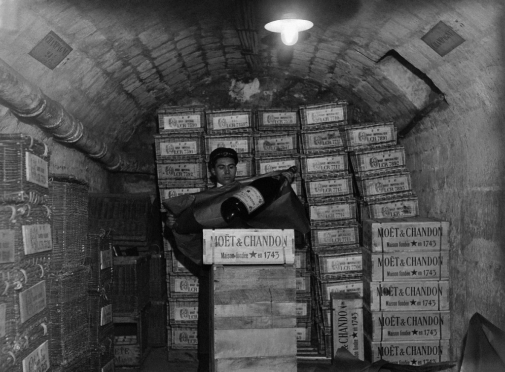 boxes of champagne in cave