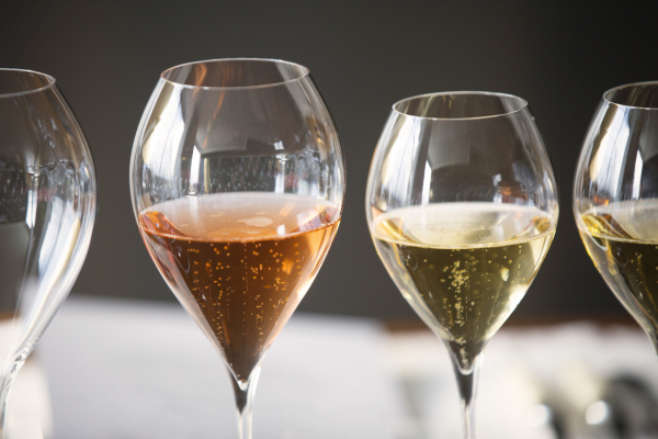 glasses of champagne of different hues